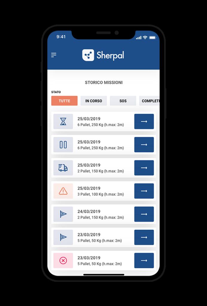 Sherpal Mobile app Storico missioni